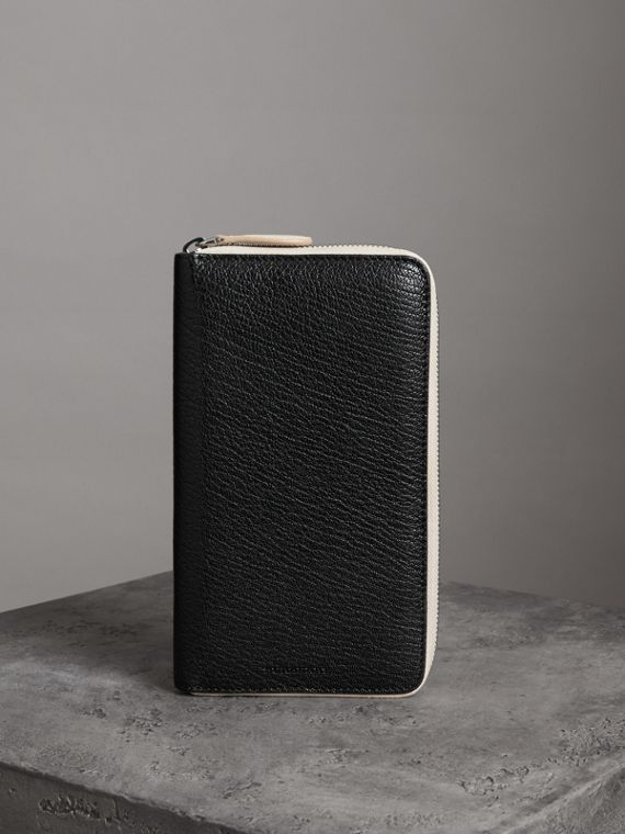 Two-tone Leather Ziparound Wallet in Black