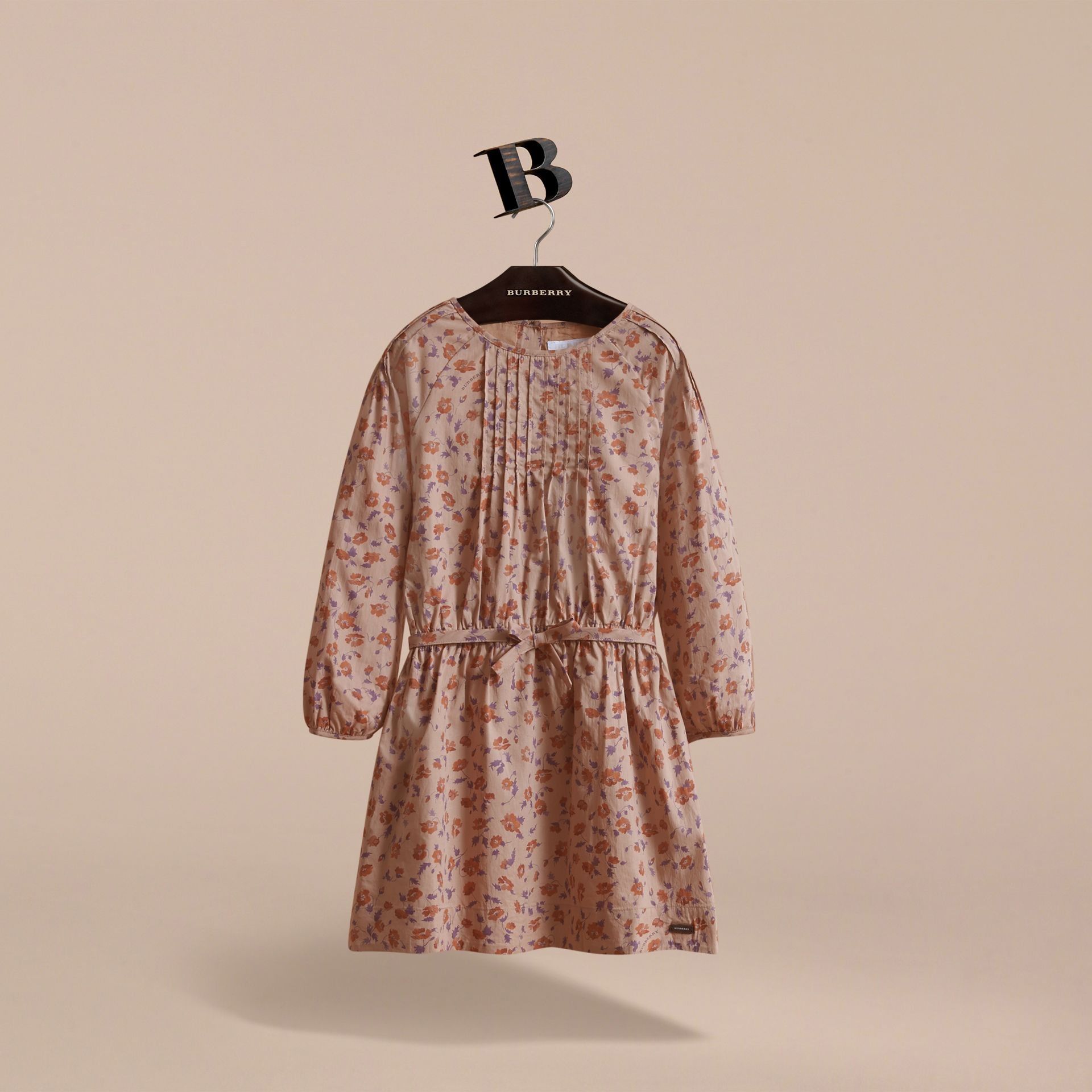 Pintuck Detail Floral Cotton Dress | Burberry - gallery image 3
