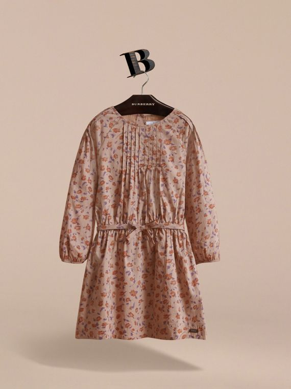 Pintuck Detail Floral Cotton Dress | Burberry - cell image 2