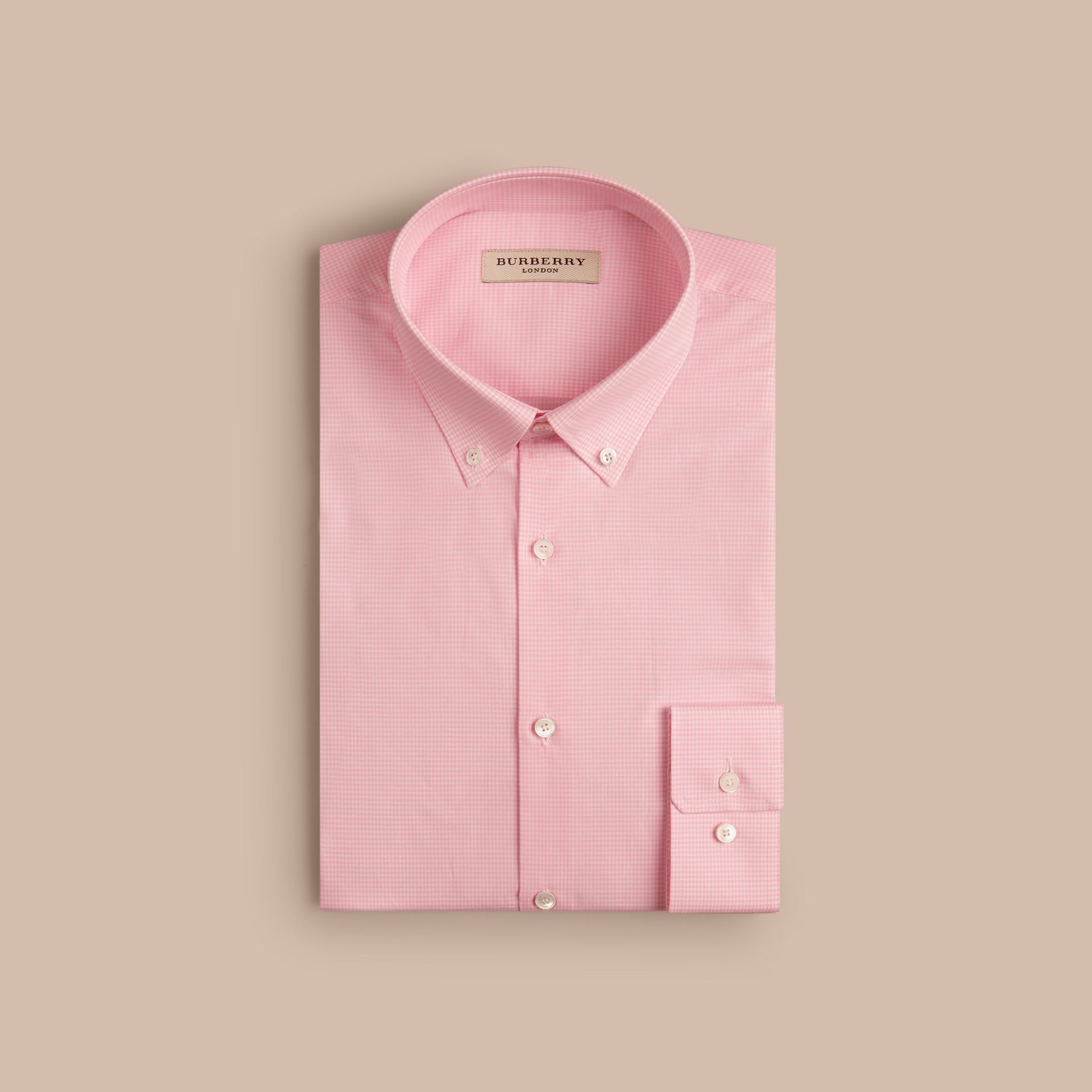 City pink Slim Fit Button-down Collar Gingham Cotton Poplin Shirt City Pink - gallery image 4