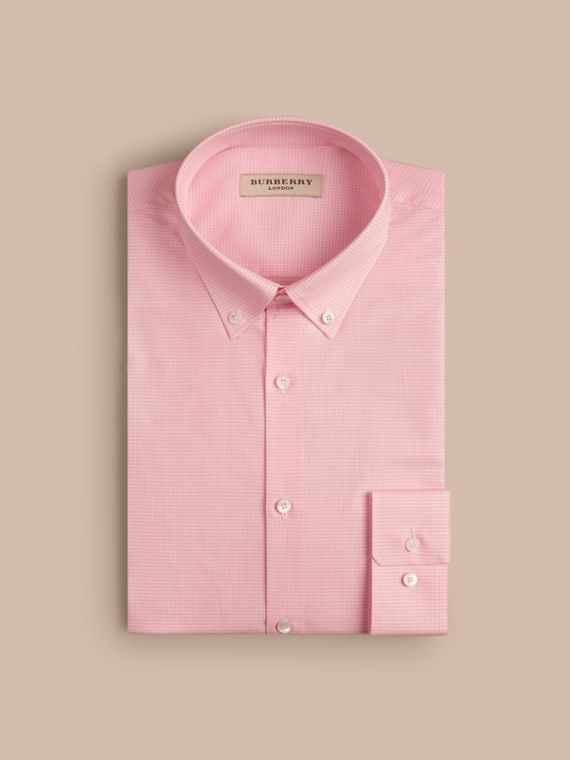 Slim Fit Button-down Collar Gingham Cotton Poplin Shirt in City Pink - cell image 3