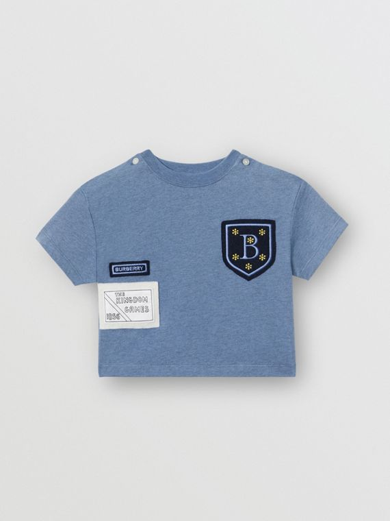 Logo Montage Cotton T-shirt in Dusty Blue