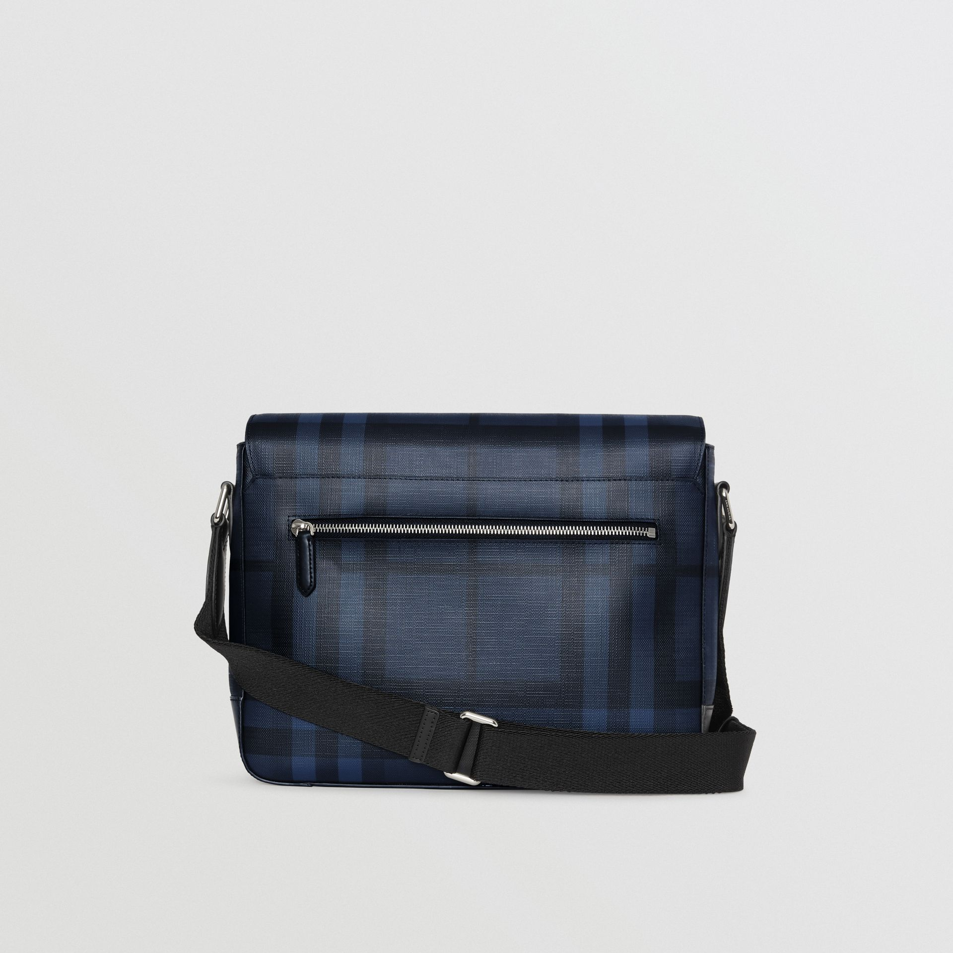 Medium Leather Trim London Check Messenger Bag in Navy/black - Men | Burberry Singapore - gallery image 7