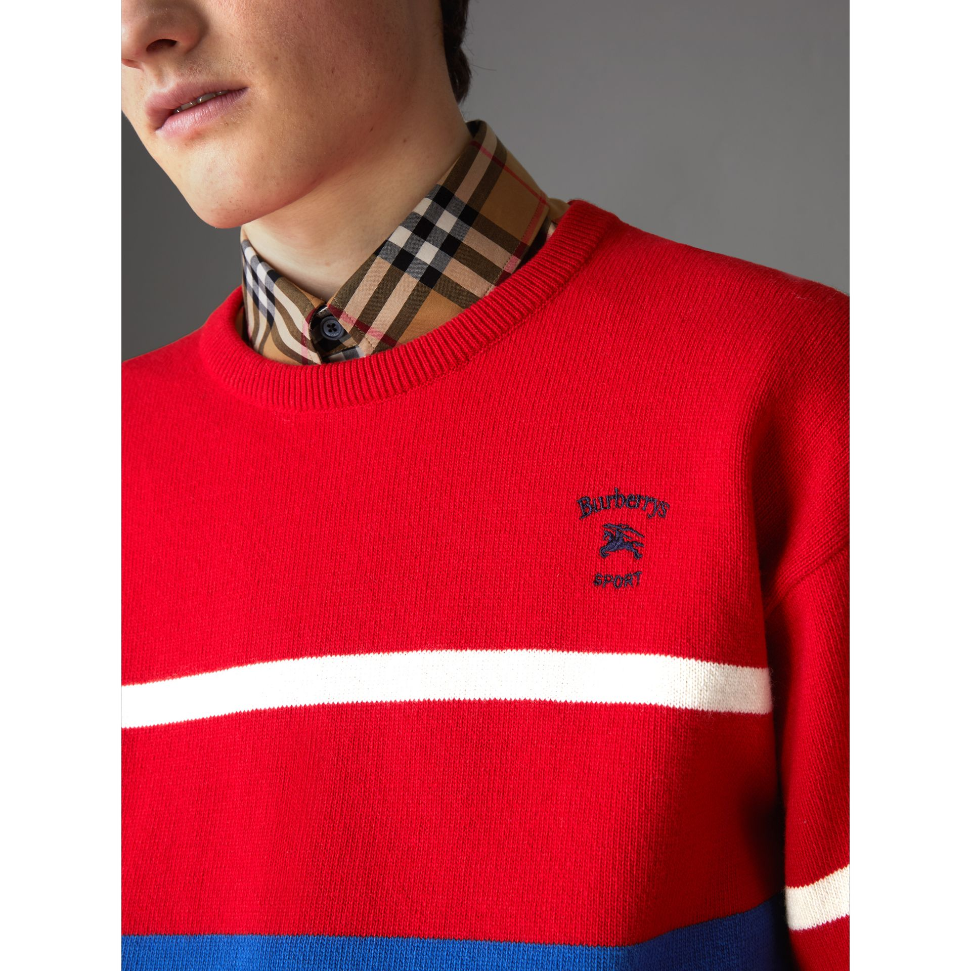 Reissued Lambswool Sweater in Red - Men | Burberry - gallery image 1