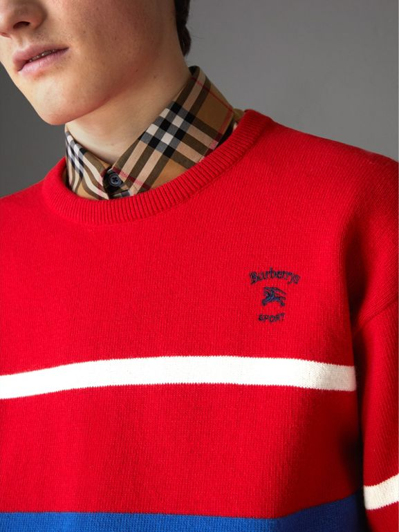 Reissued Lambswool Sweater in Red - Men | Burberry - cell image 1