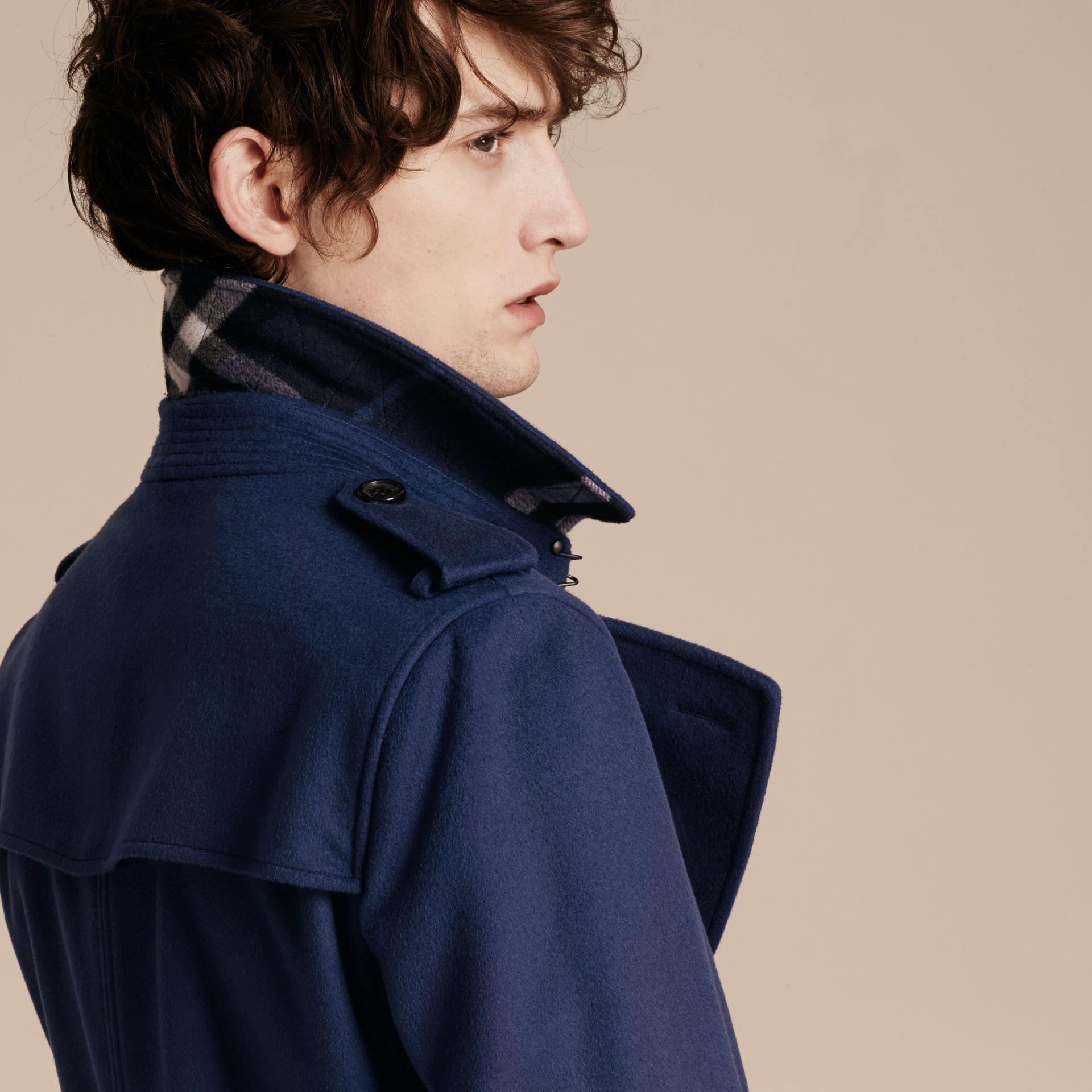 Bright steel blue Wool Cashmere Trench Coat - gallery image 5
