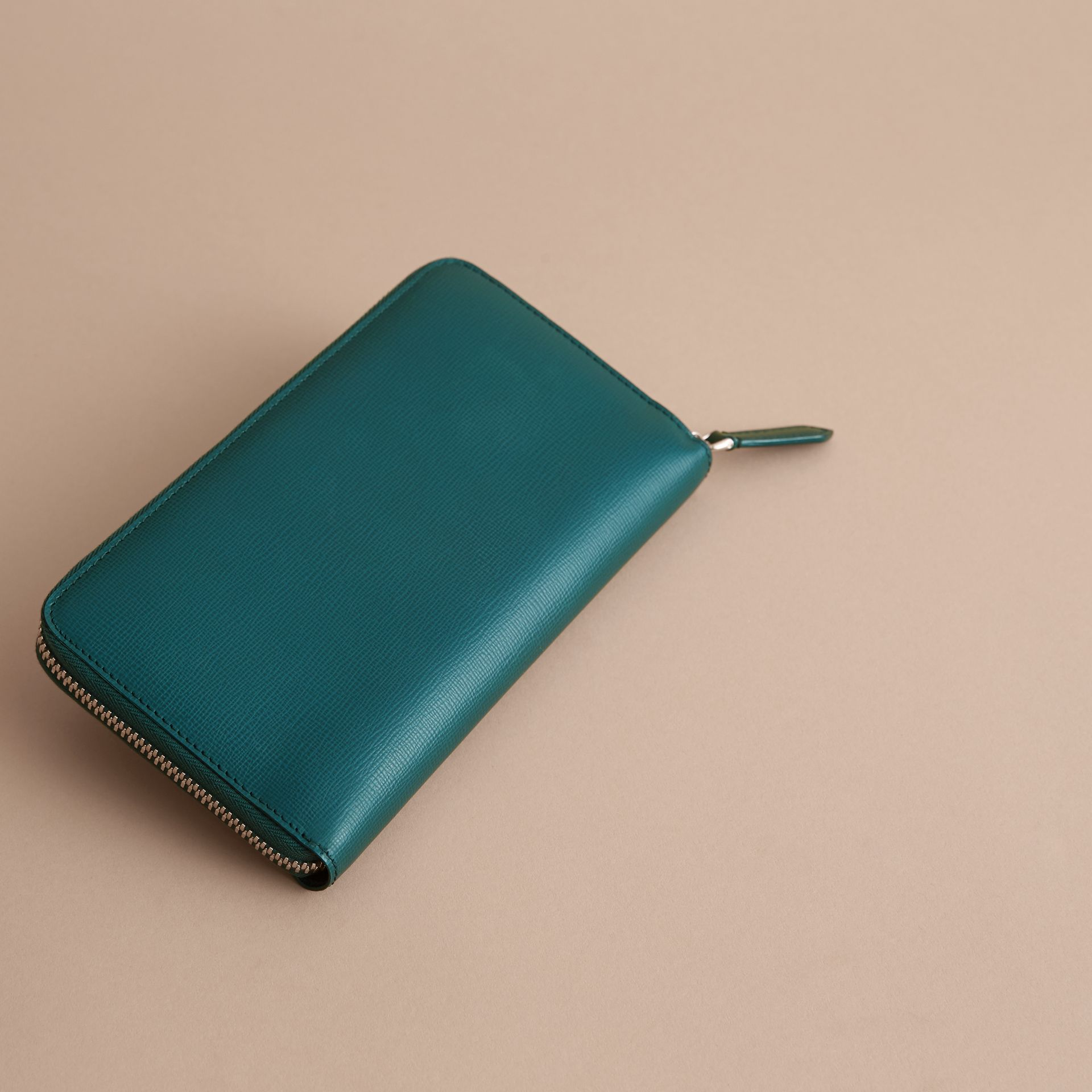 London Leather Ziparound Wallet in Dark Teal | Burberry - gallery image 4