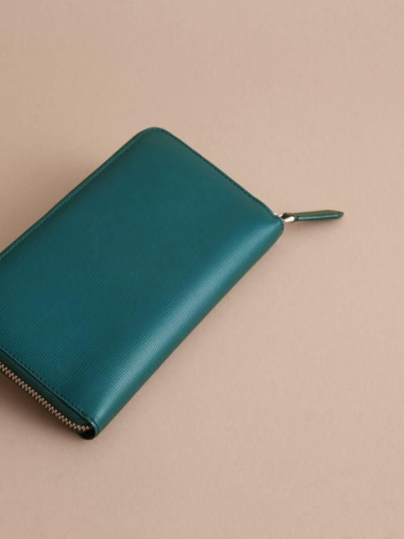 London Leather Ziparound Wallet in Dark Teal | Burberry - cell image 3