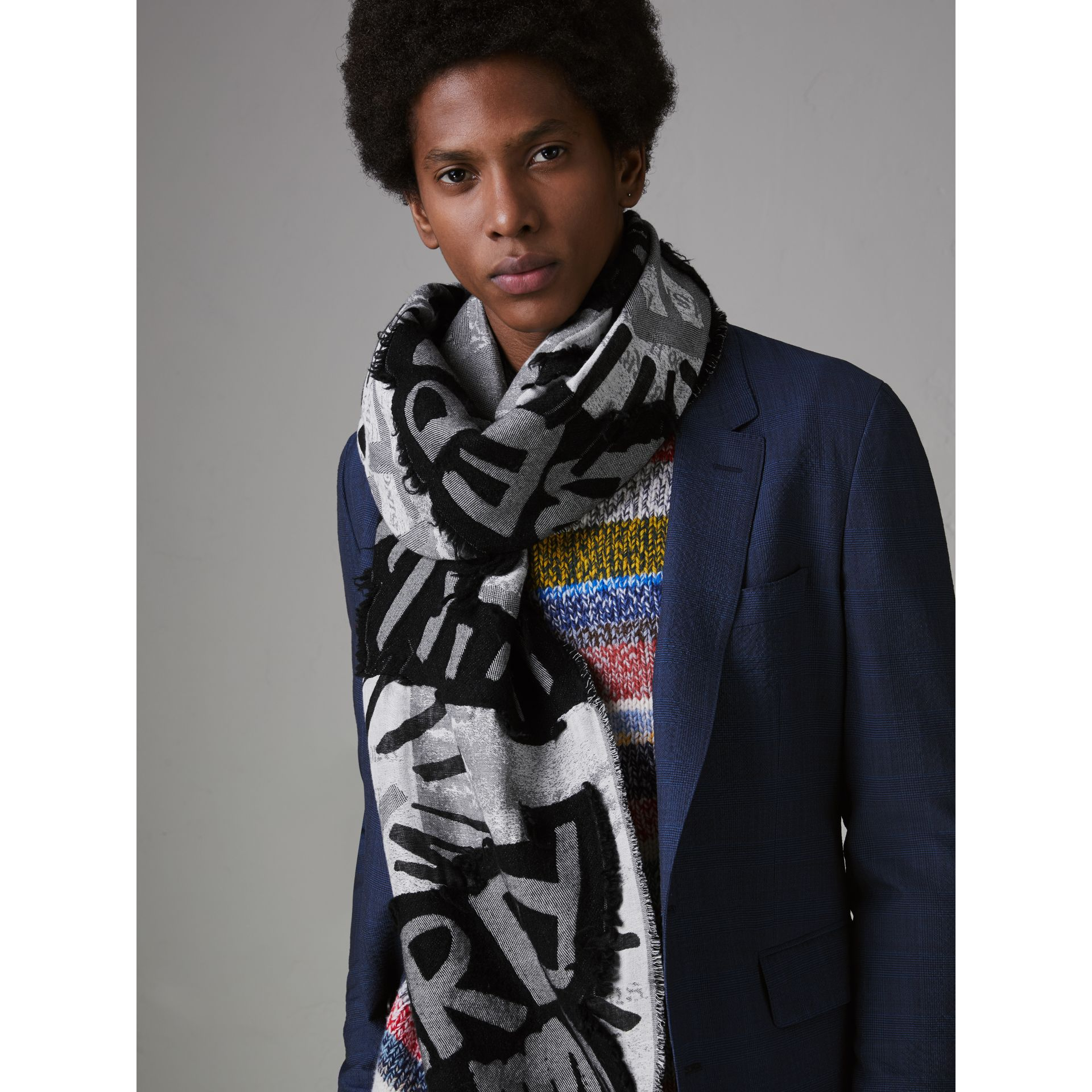 Graffiti Print Fil Coupé Cotton Wool Modal Scarf in Black | Burberry Singapore - gallery image 5