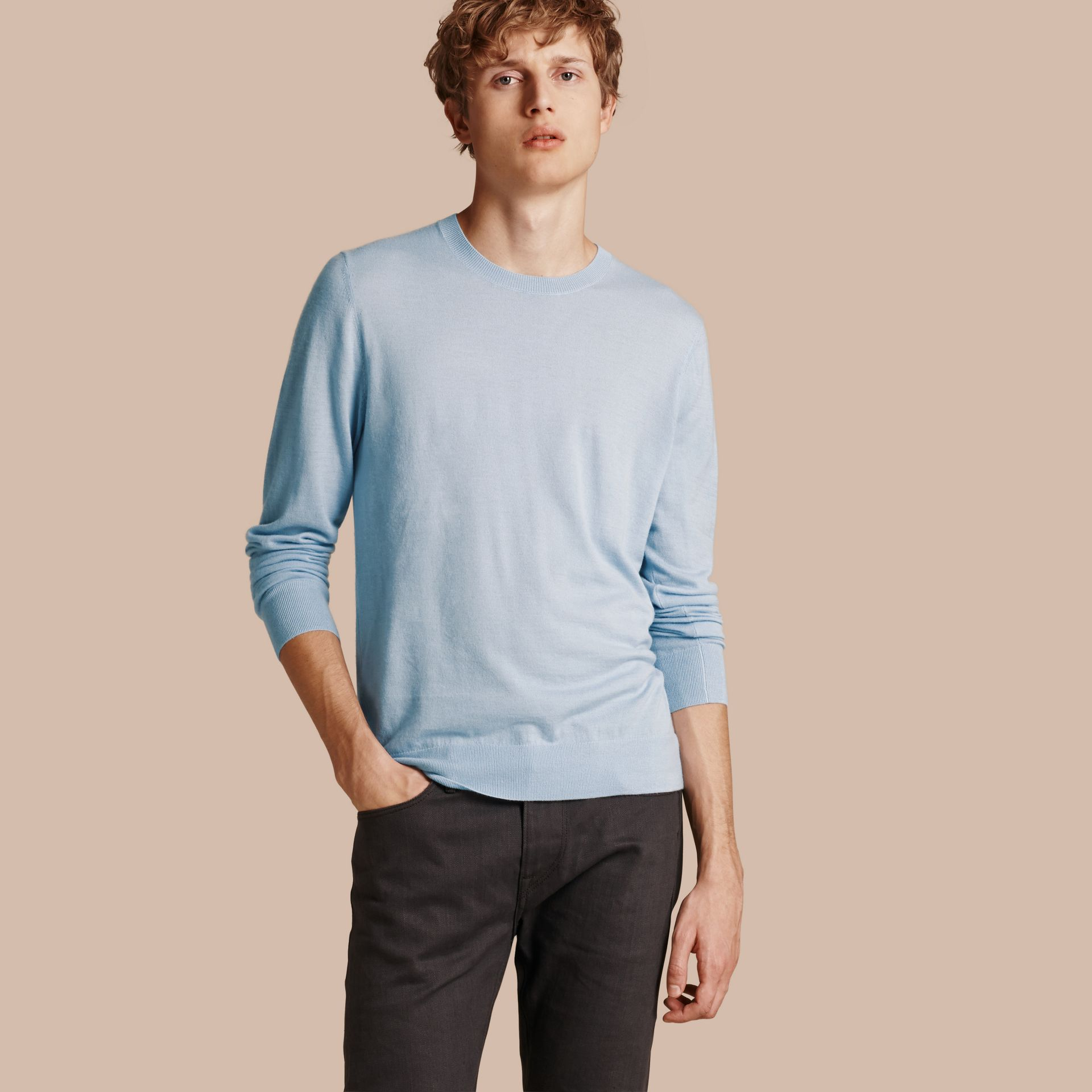 Lightweight Crew Neck Cashmere Sweater with Check Trim in Light Blue - Men | Burberry - gallery image 1
