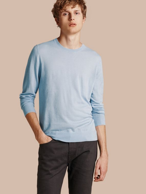 Lightweight Crew Neck Cashmere Sweater with Check Trim in Light Blue