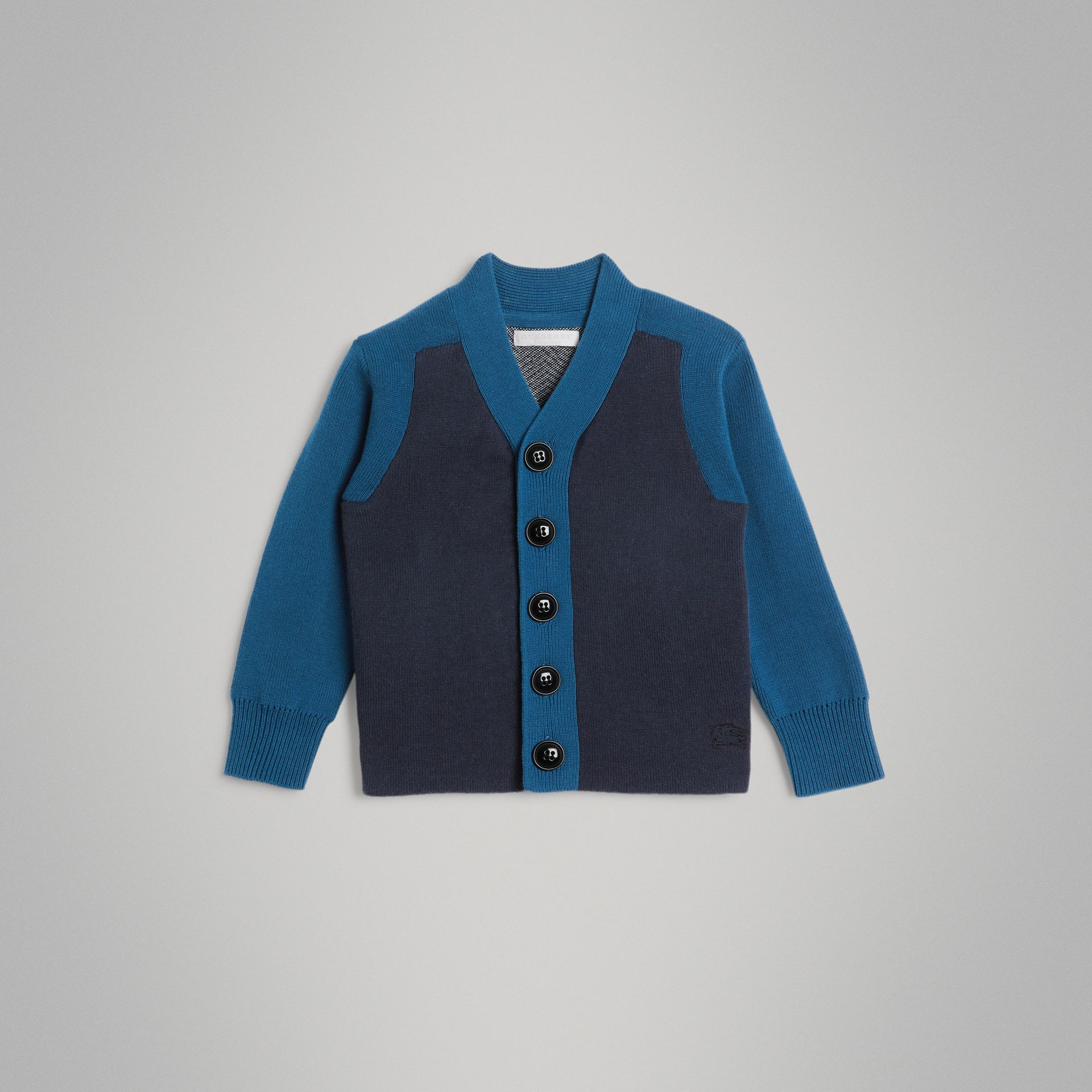 Colour Block Cotton Cardigan in Navy | Burberry - gallery image 0