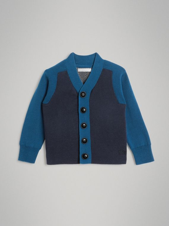 Colour Block Cotton Cardigan in Navy