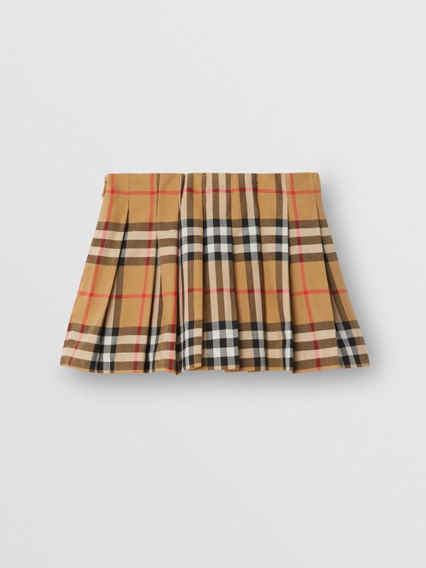 Vintage Check Pleated Skirt in Antique Yellow - Children | Burberry Singapore - cell image 3