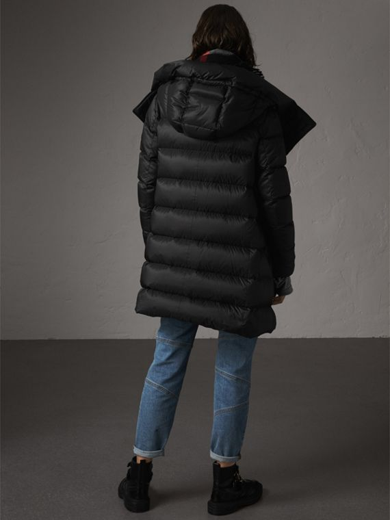 Detachable Hooded Down-filled Puffer Coat in Black - Women | Burberry United States - cell image 2