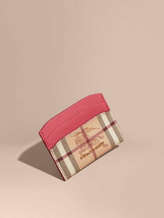 Haymarket Check and Leather Card Case Plum Pink