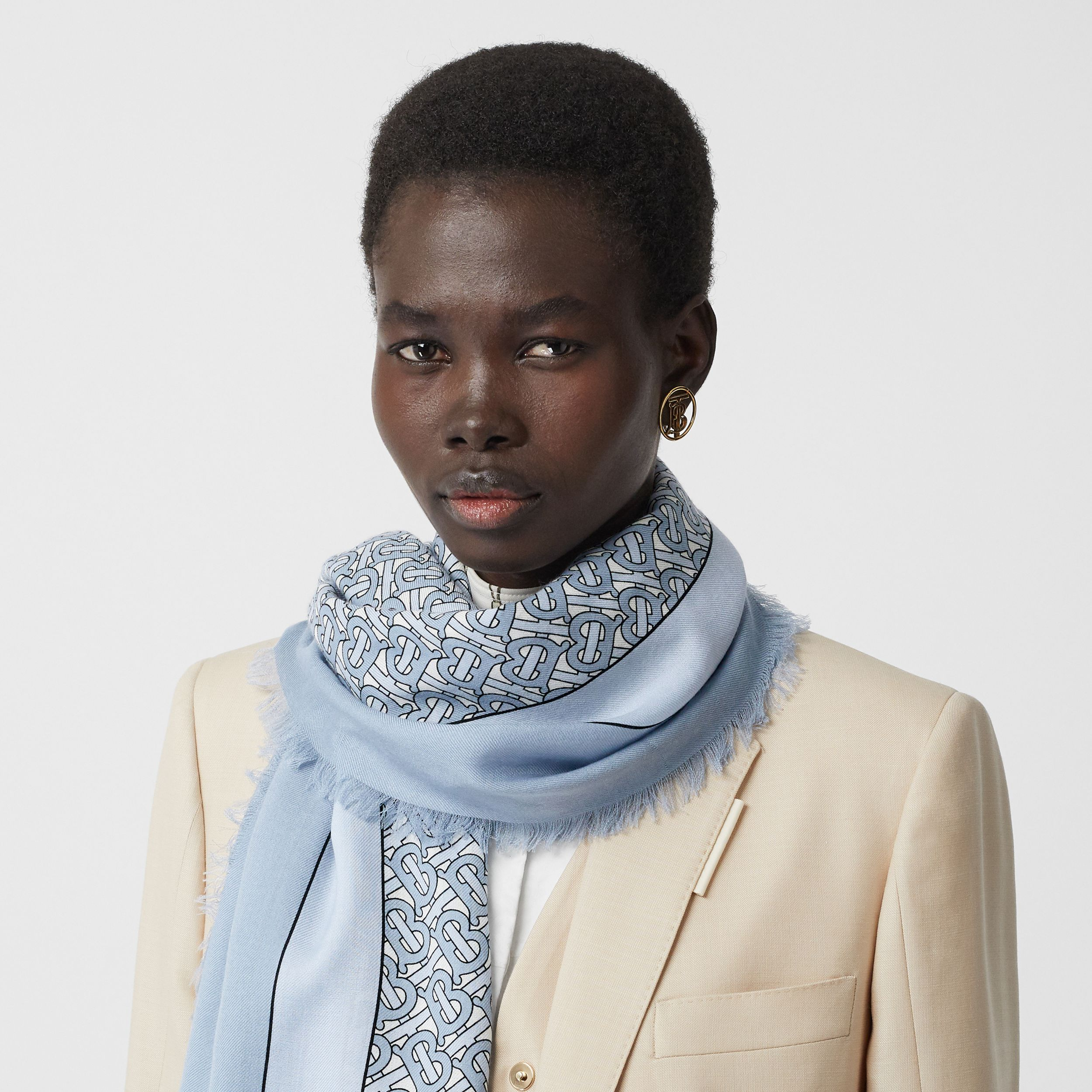 Monogram Print Lightweight Cashmere Scarf in Light Blue | Burberry - 3