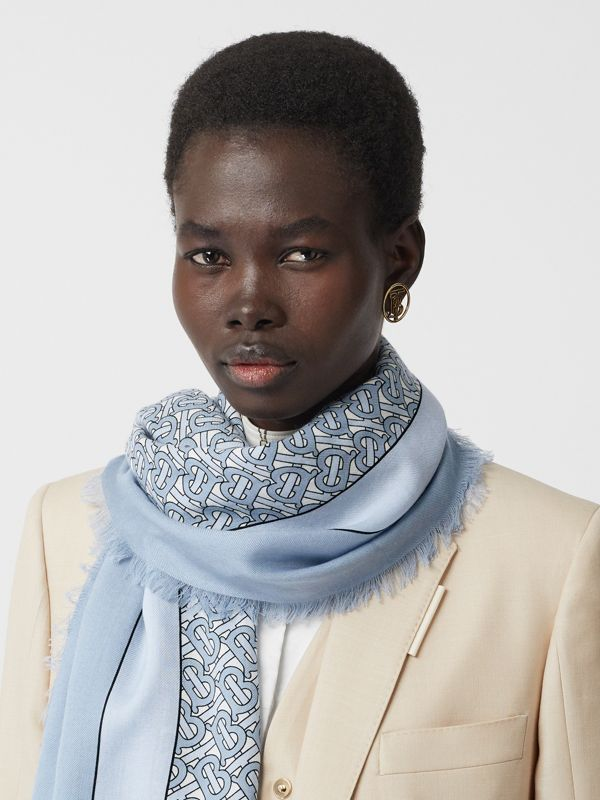 Monogram Print Lightweight Cashmere Scarf in Light Blue | Burberry - cell image 2