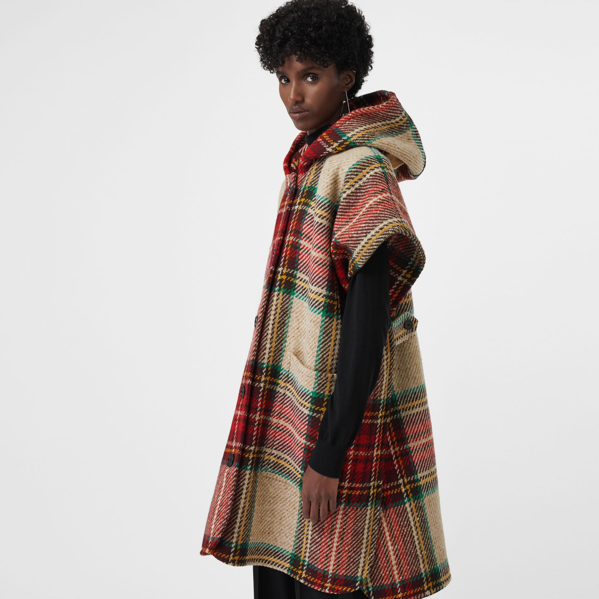 Tartan Wool Hooded Poncho in Crimson - Women | Burberry - gallery image 3