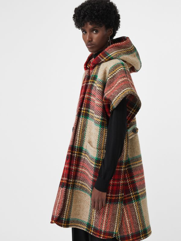 Tartan Wool Hooded Poncho in Crimson - Women | Burberry - cell image 3