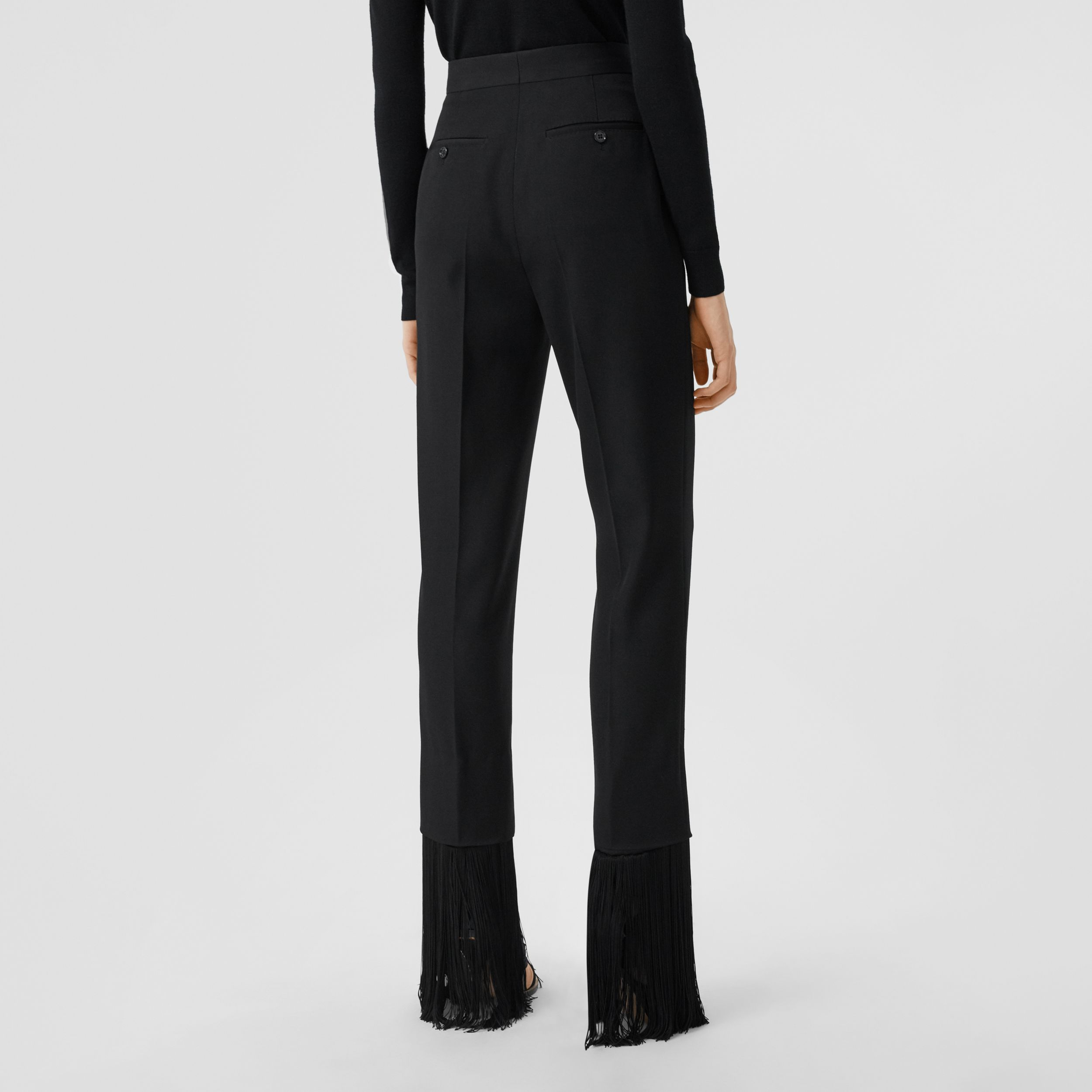 Fringed Grain De Poudre Wool Tailored Trousers in Black - Women | Burberry - 3
