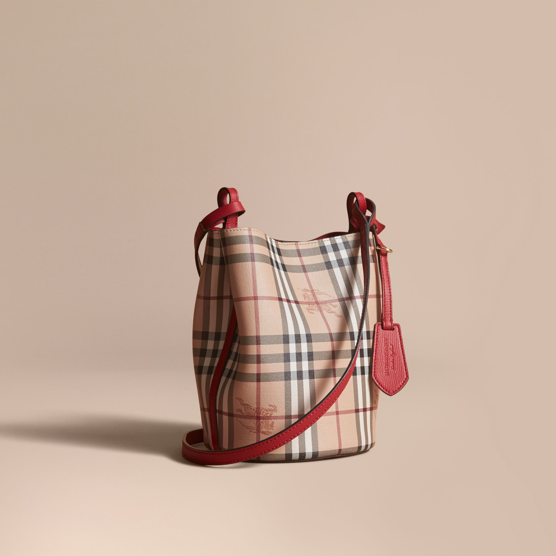 Leather and Haymarket Check Crossbody Bucket Bag in Poppy Red - Women | Burberry United Kingdom - gallery image 1