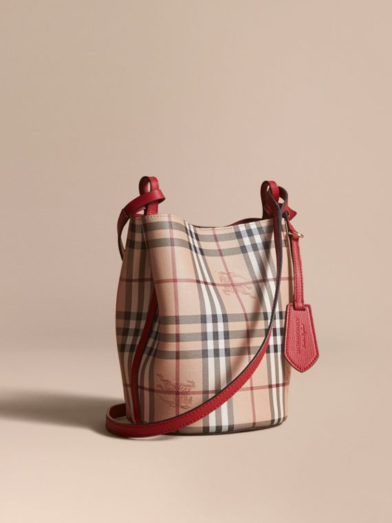 Leather and Haymarket Check Crossbody Bucket Bag in Poppy Red