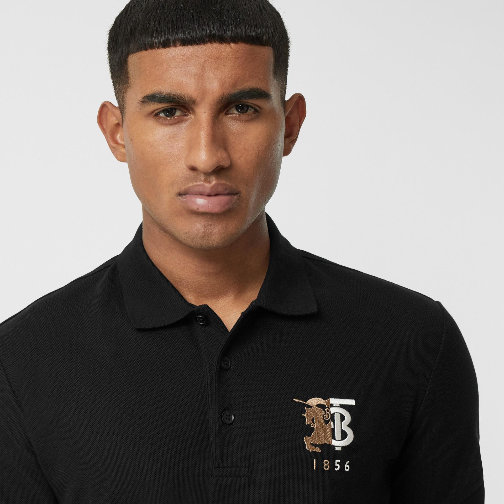 Contrast Logo Graphic Cotton Piqué Polo Shirt in Black - Men   Burberry - gallery image 1