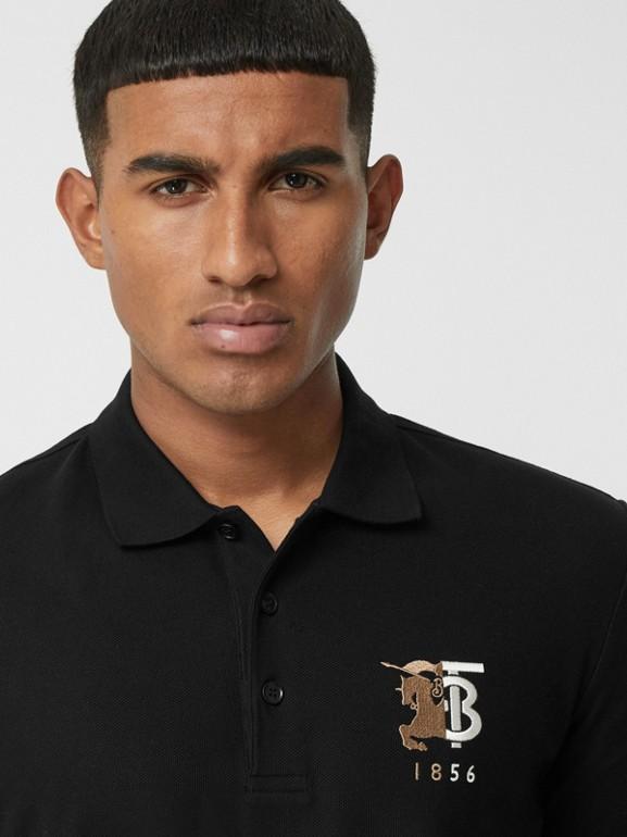Contrast Logo Graphic Cotton Piqué Polo Shirt in Black - Men   Burberry - cell image 1