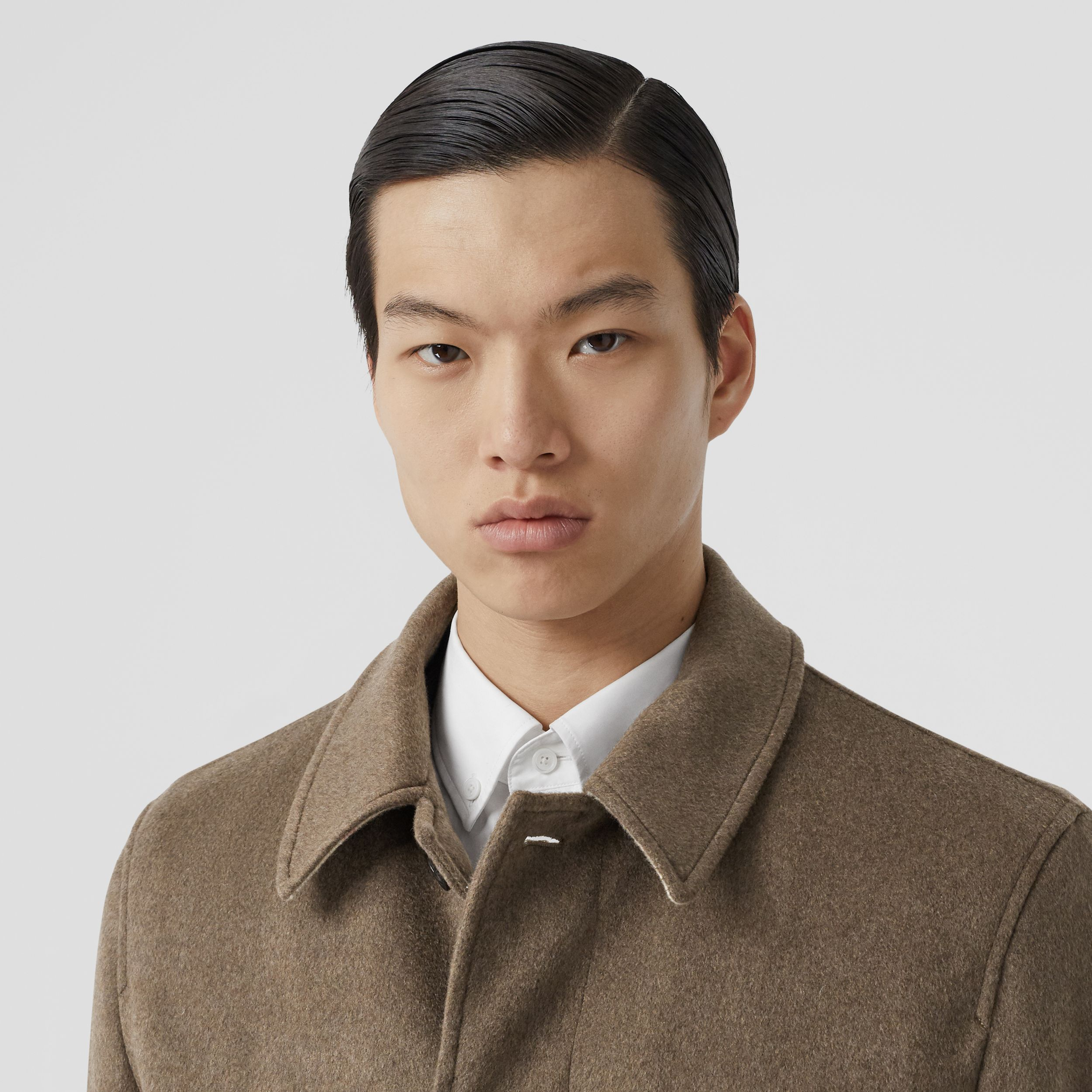 Cashmere Car Coat in Deep Taupe Melange - Men | Burberry - 2
