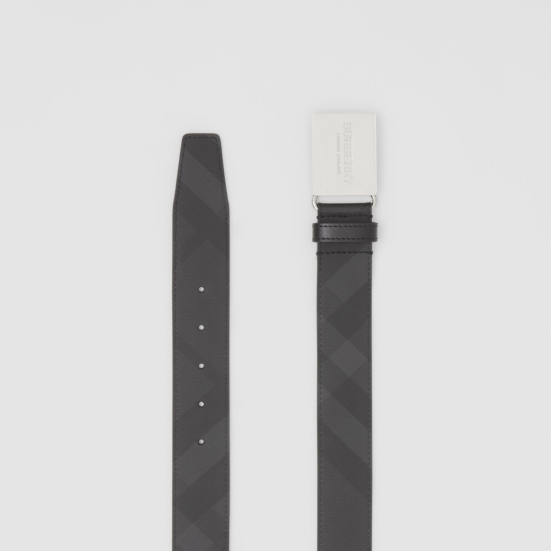 Plaque Buckle London Check and Leather Belt in Dark Charcoal/ Black - Men | Burberry - gallery image 5