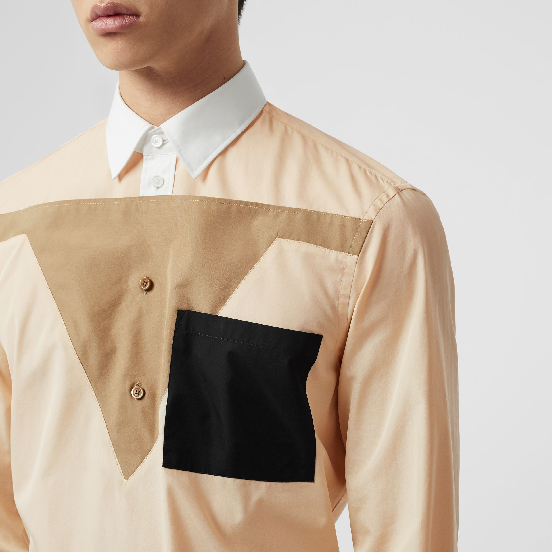 Classic Fit Pocket Detail Colour Block Cotton Shirt in Buttermilk - Men | Burberry United States - gallery image 1