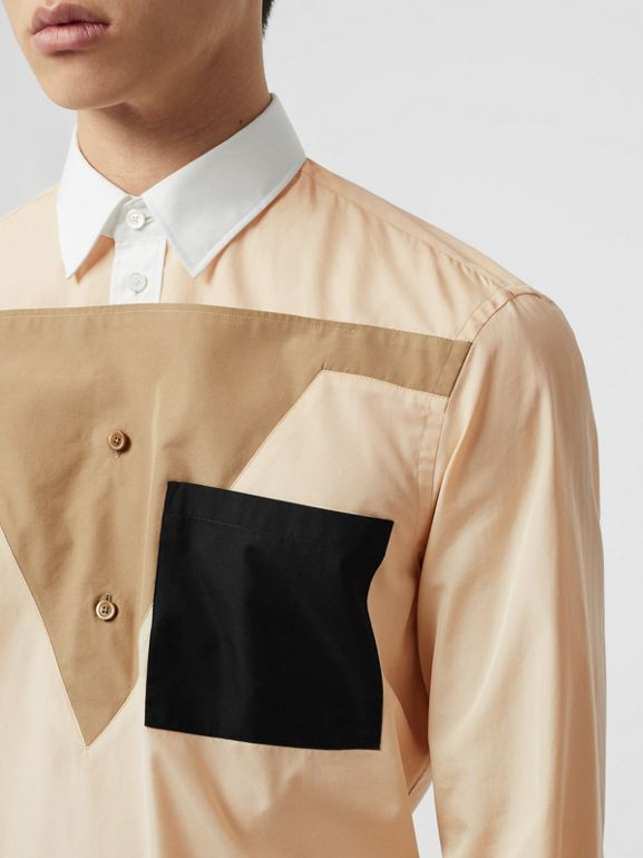 Classic Fit Pocket Detail Colour Block Cotton Shirt in Buttermilk - Men | Burberry United States - cell image 1