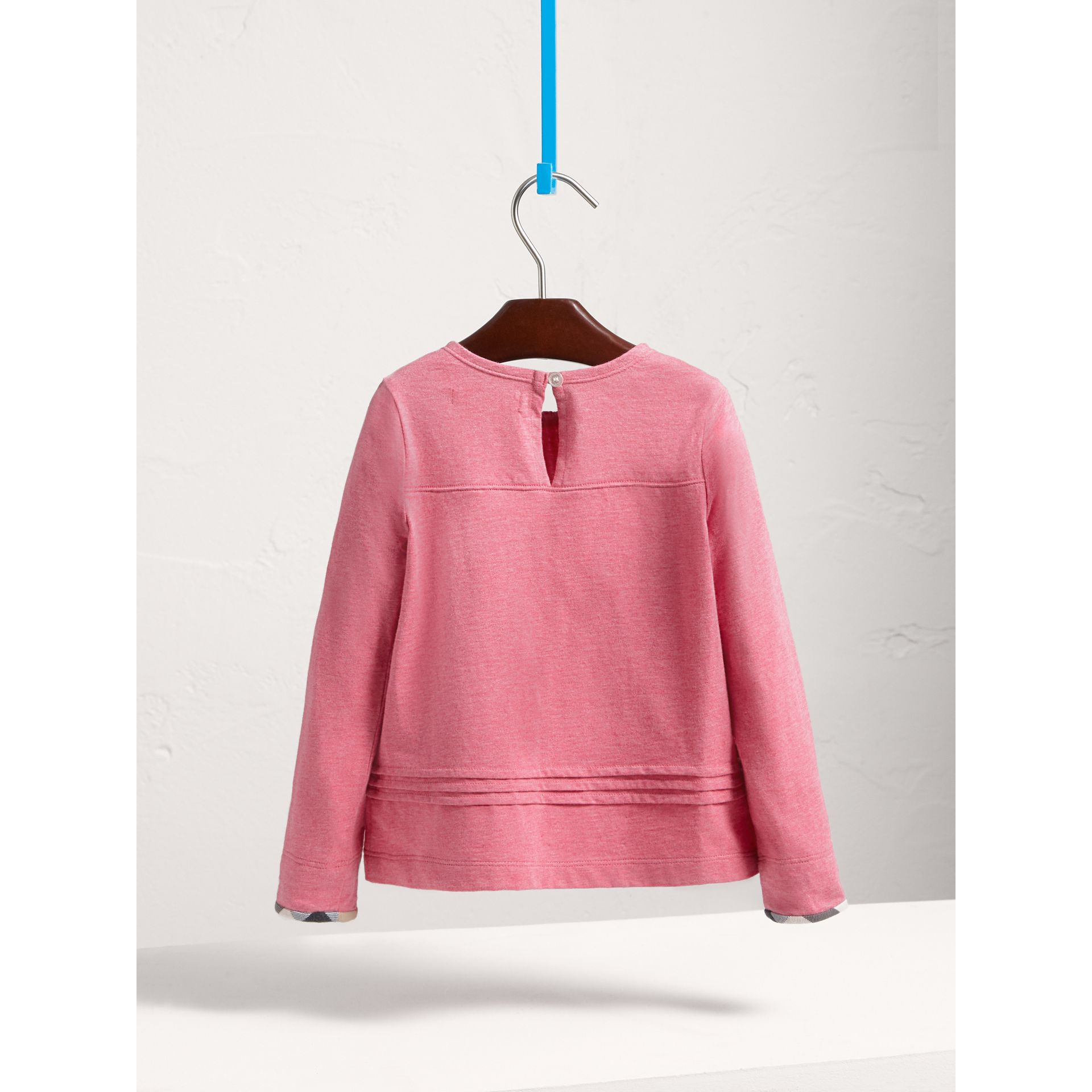 Long-sleeve Pleat and Check Detail Cotton T-shirt in Plum Pink Melange - Girl | Burberry - gallery image 3