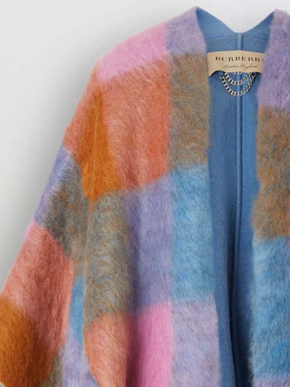 Patchwork Mohair Blend Cape in Apricot Pink - Women | Burberry United States - cell image 1