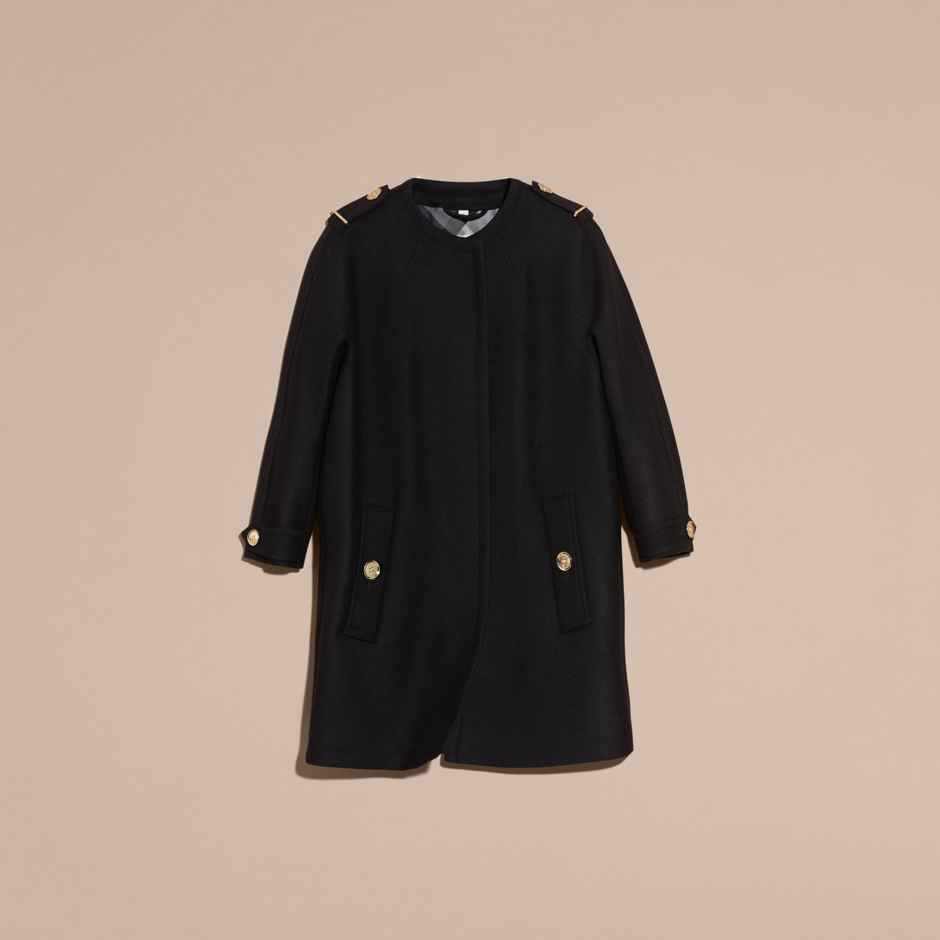 Black Technical Wool Cashmere Collarless Coat Black - gallery image 4