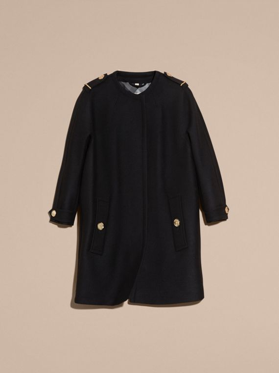 Black Technical Wool Cashmere Collarless Coat Black - cell image 3