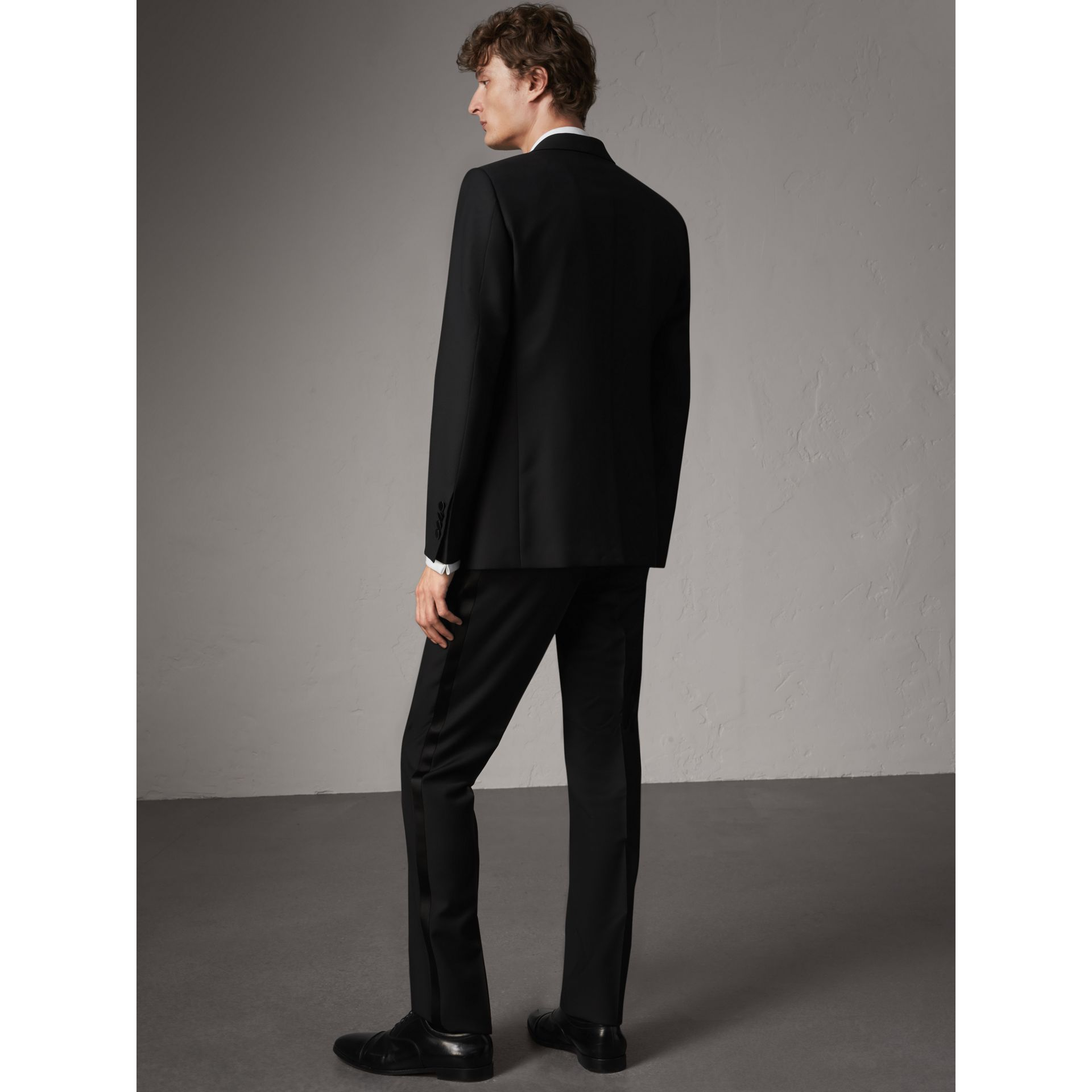 Modern Fit Wool Mohair Half-canvas Tuxedo in Black - Men | Burberry Australia - gallery image 4