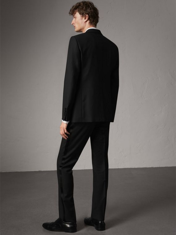 Modern Fit Wool Mohair Half-canvas Tuxedo in Black - Men | Burberry Australia - cell image 3