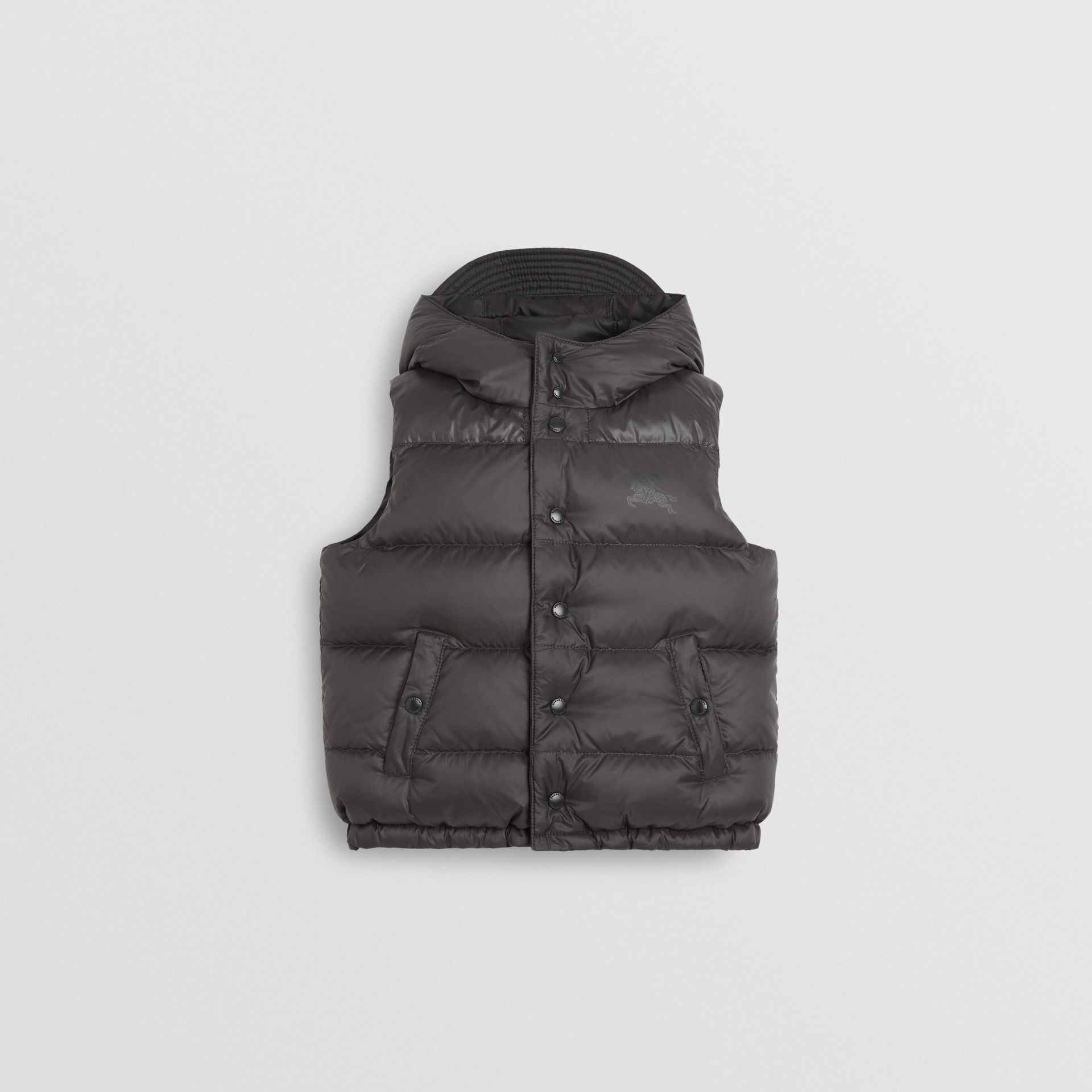 Reversible Showerproof Down-filled Hooded Gilet in Dark Grey | Burberry - gallery image 0