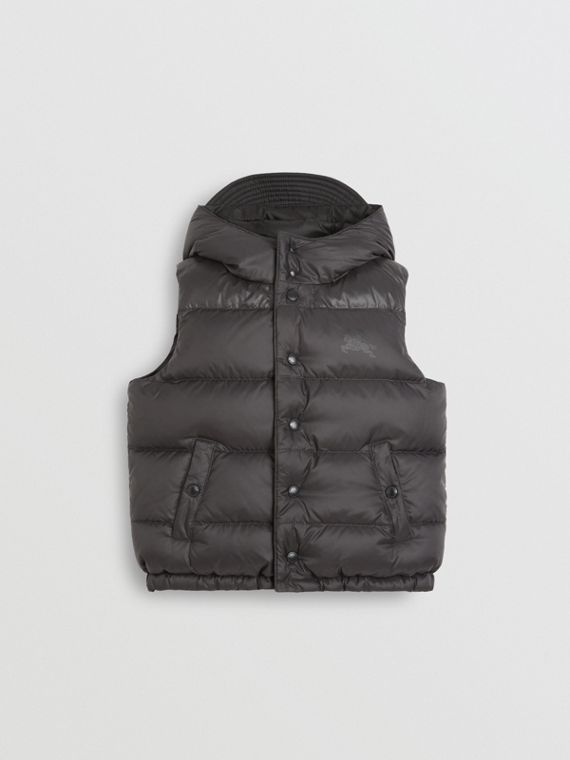 Reversible Showerproof Down-filled Hooded Gilet in Dark Grey