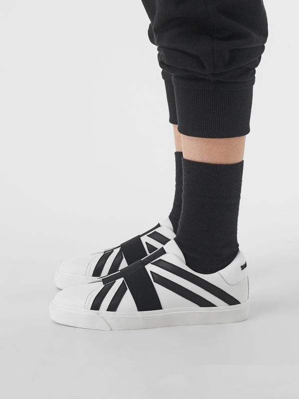 Union Jack Motif Slip-on Sneakers in Optic White/black - Women | Burberry United Kingdom - cell image 2