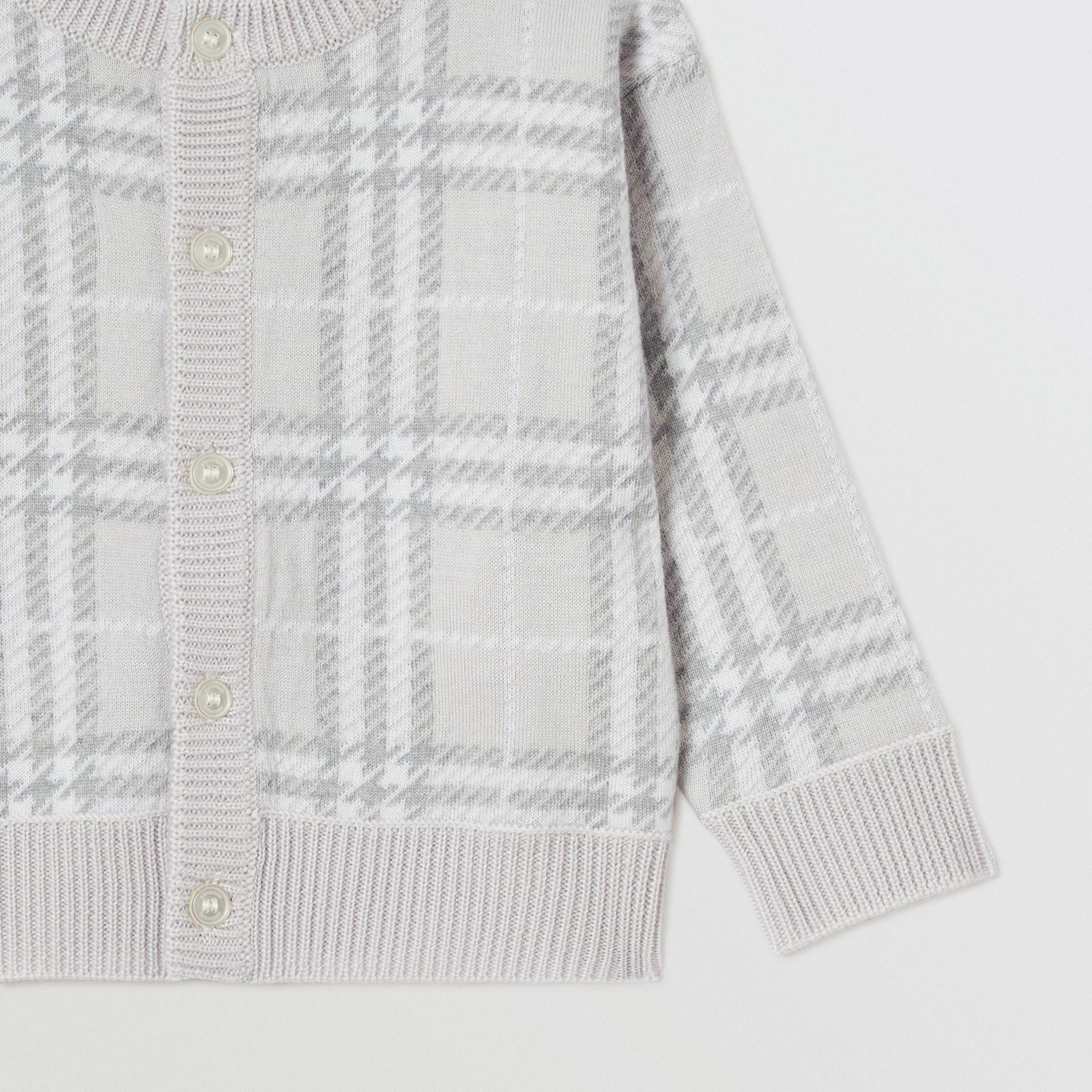 Check Merino Wool Jacquard Cardigan in Pale Grey - Children | Burberry - gallery image 5