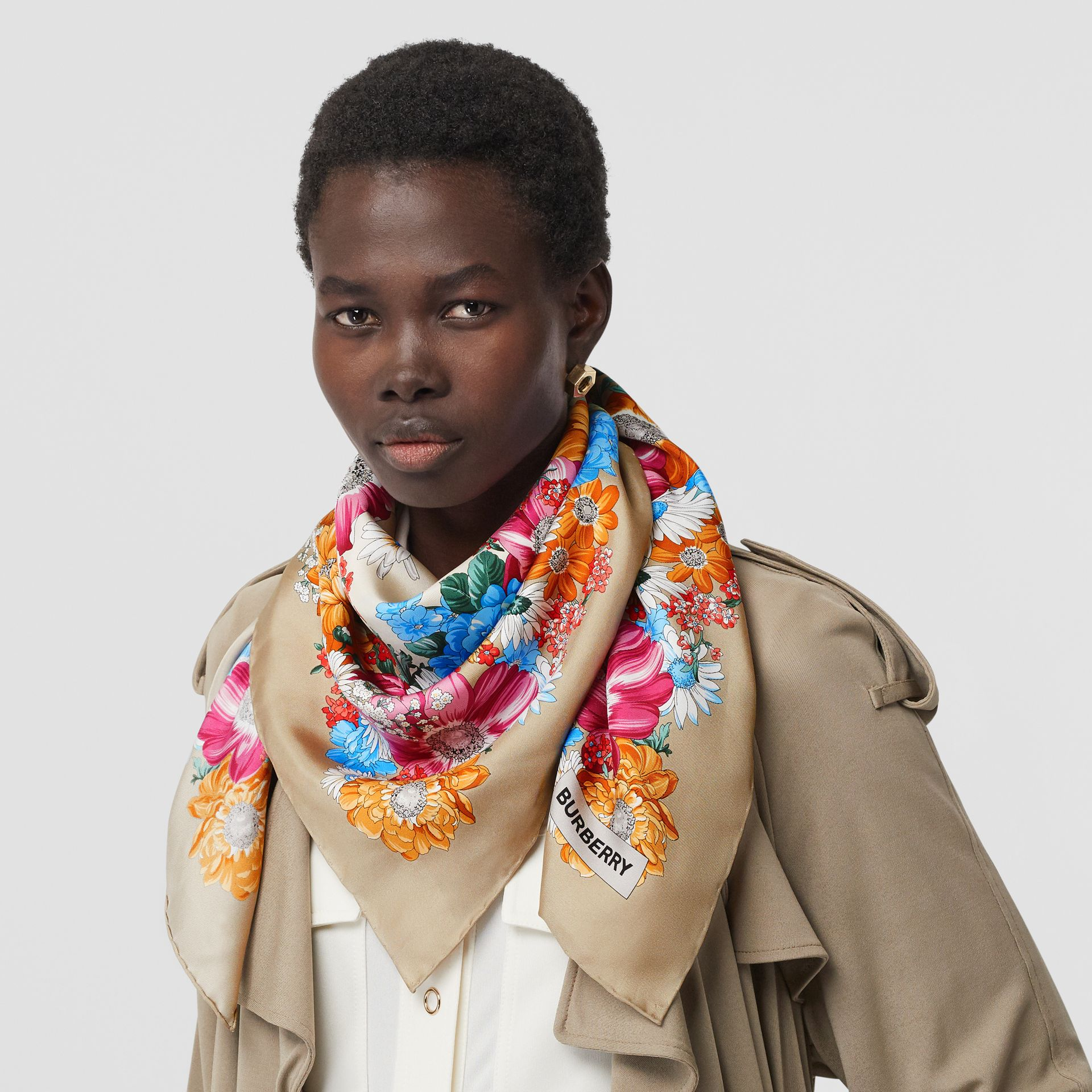 Archive Scarf Print Silk Square Scarf in Multicolour | Burberry Singapore - gallery image 2