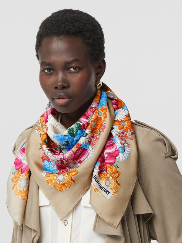 Archive Scarf Print Silk Square Scarf in Multicolour | Burberry Singapore - cell image 2