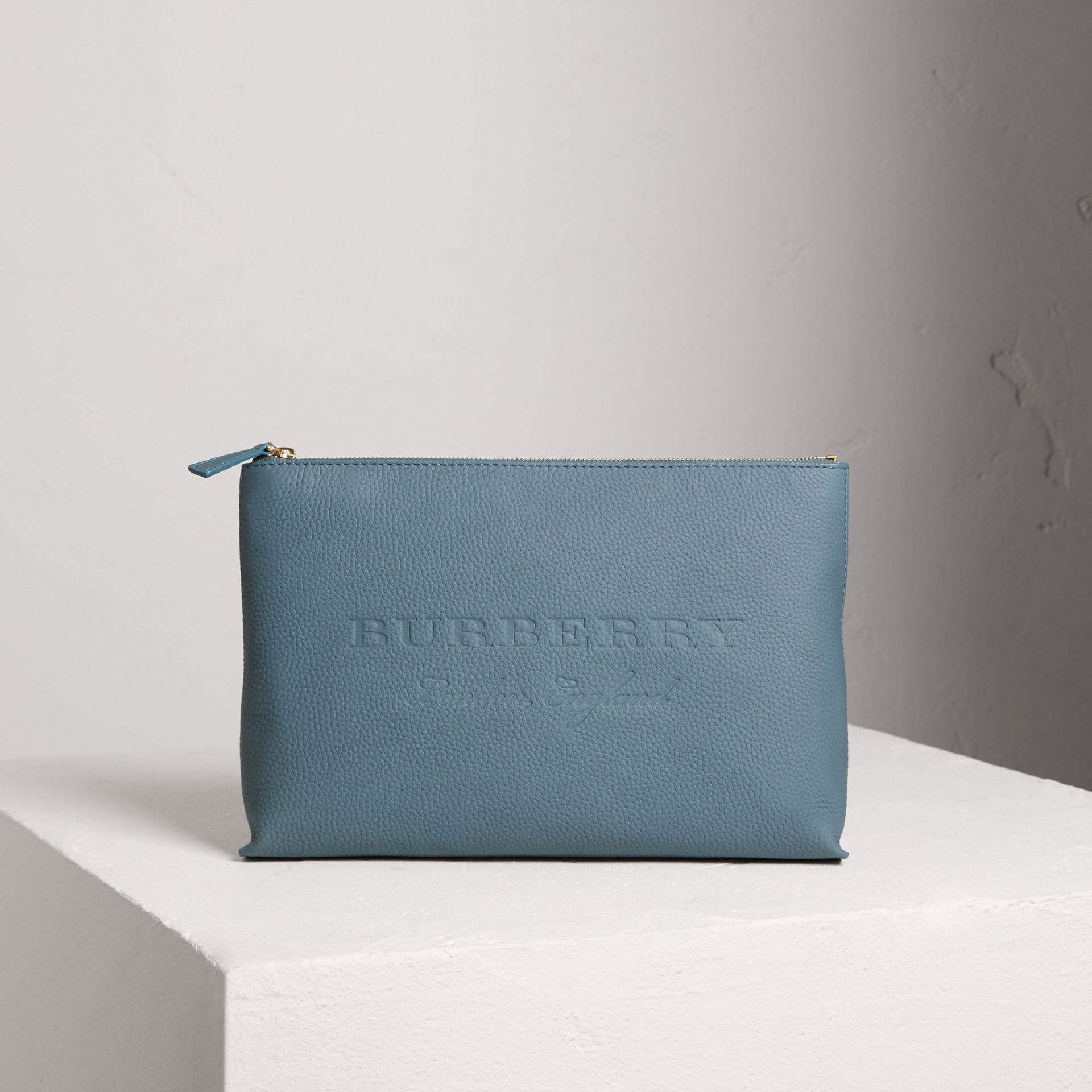 Large Embossed Leather Zip Pouch in Dusty Teal Blue | Burberry - gallery image 0