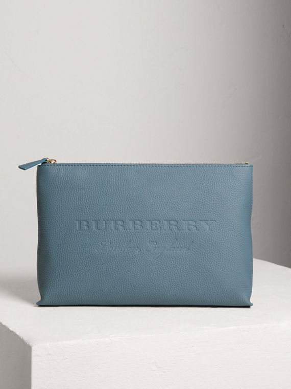 Large Embossed Leather Zip Pouch in Dusty Teal Blue