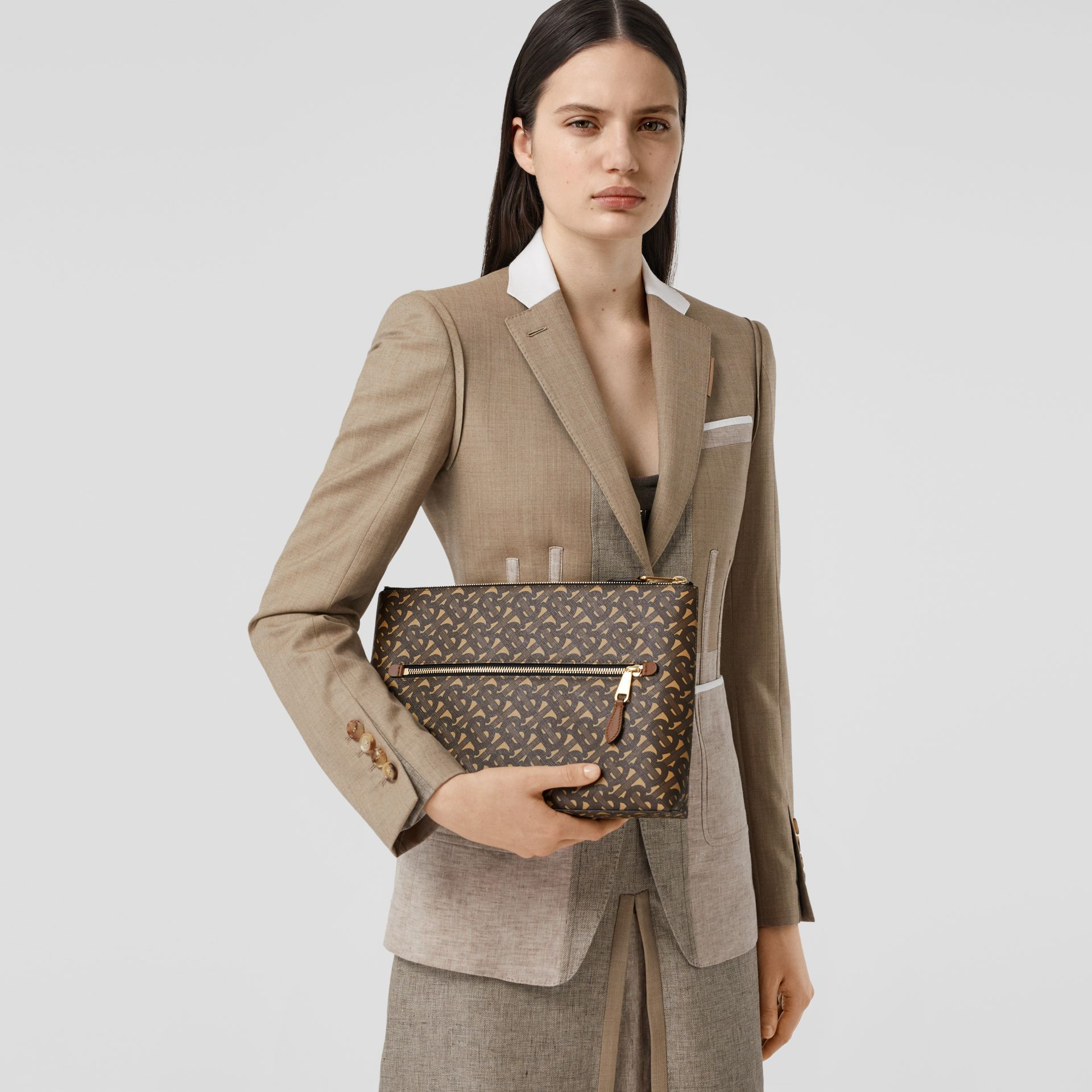 Monogram Print E-canvas Zip Pouch in Bridle Brown | Burberry United States - gallery image 2