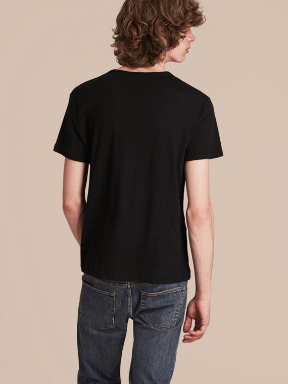 Black Cotton Wool Blend T-shirt Black - cell image 2