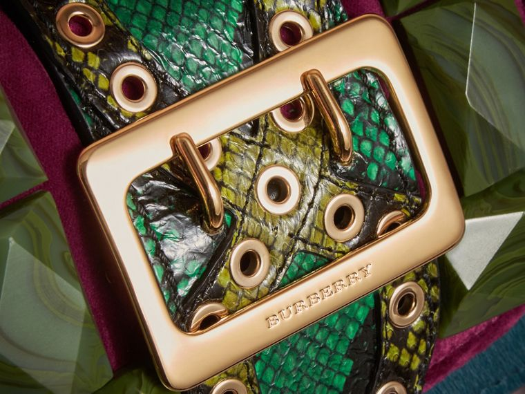 The Mini Square Buckle Bag in Calfskin, Snakeskin and Velvet - cell image 1